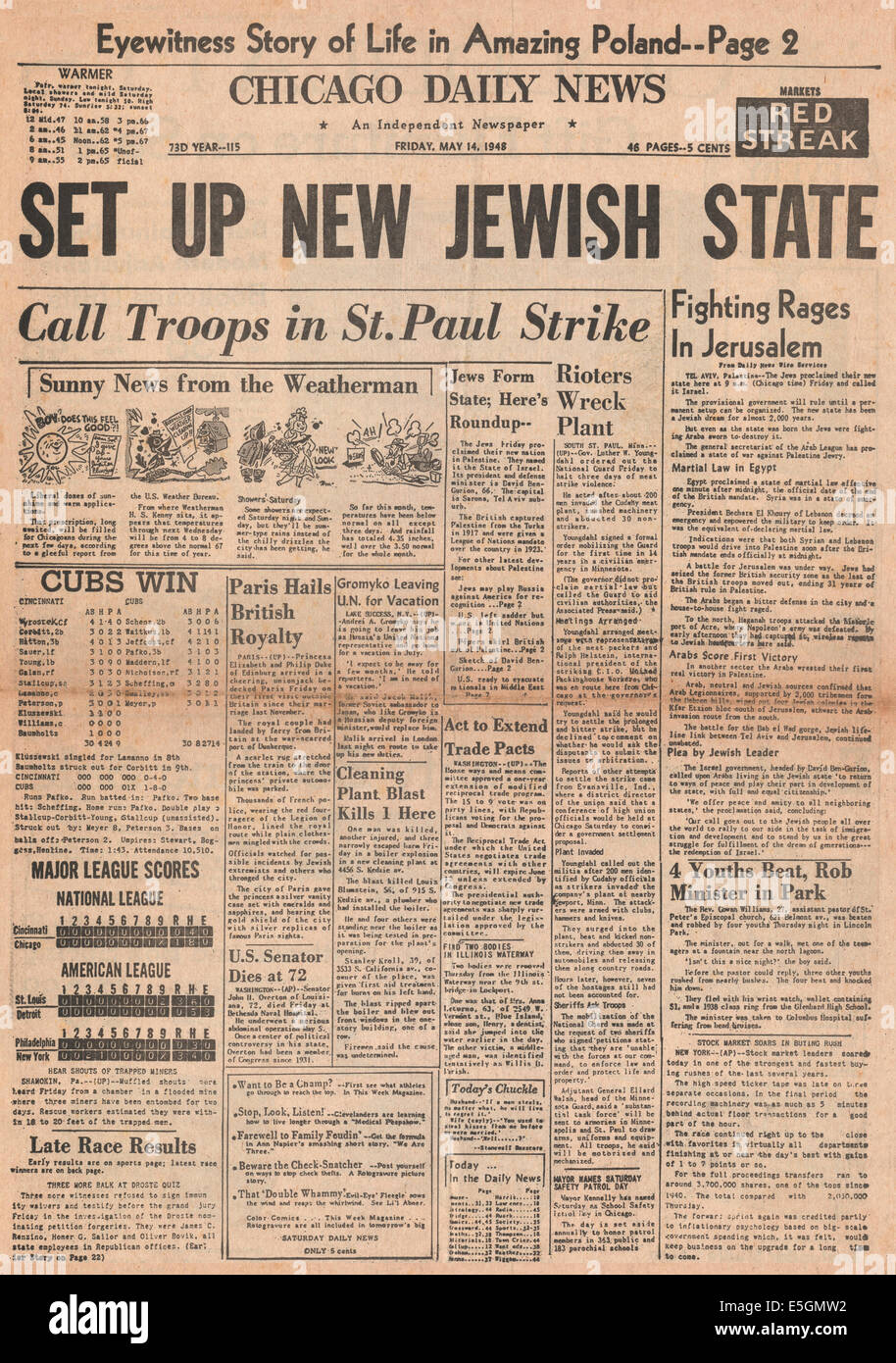 1948 Chicago Daily News front page reporting State of Israel