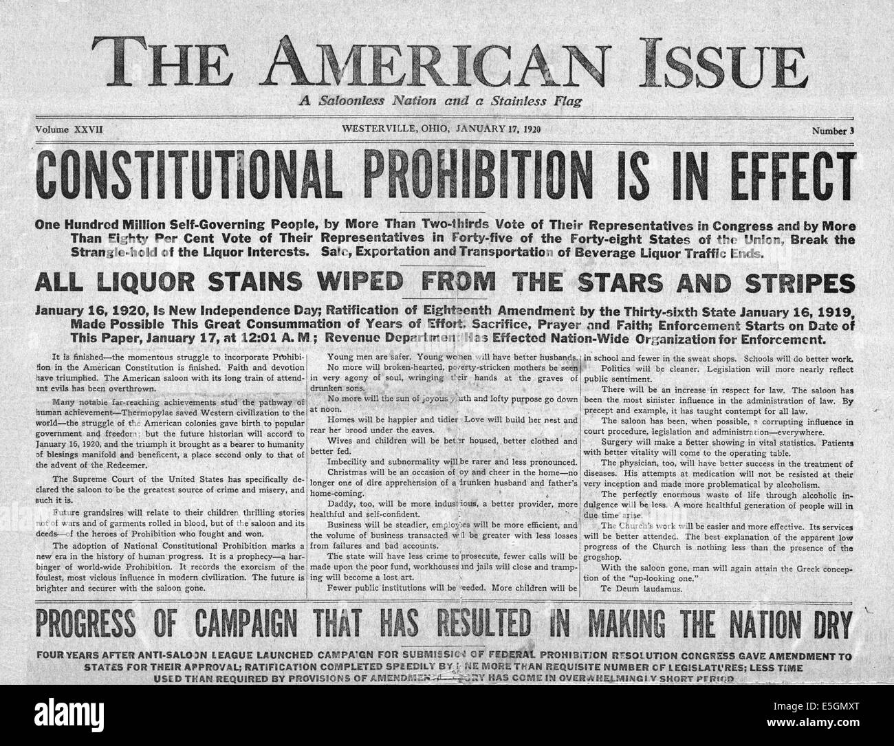 1920 The American Issue front page reporting that Prohibition begins across the United States - Stock Image