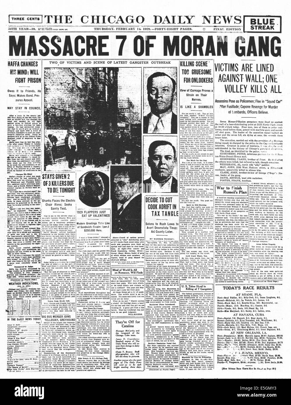 1929 Chicago Daily News Usa Front Page Reporting The St Valentines