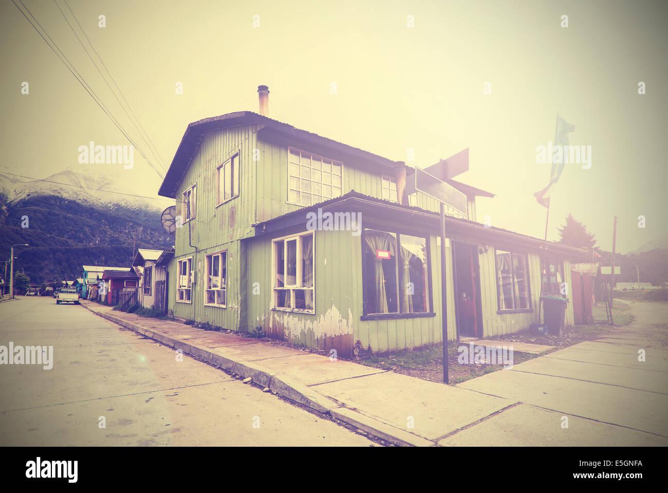 Vintage picture of mountain village street. Stock Photo