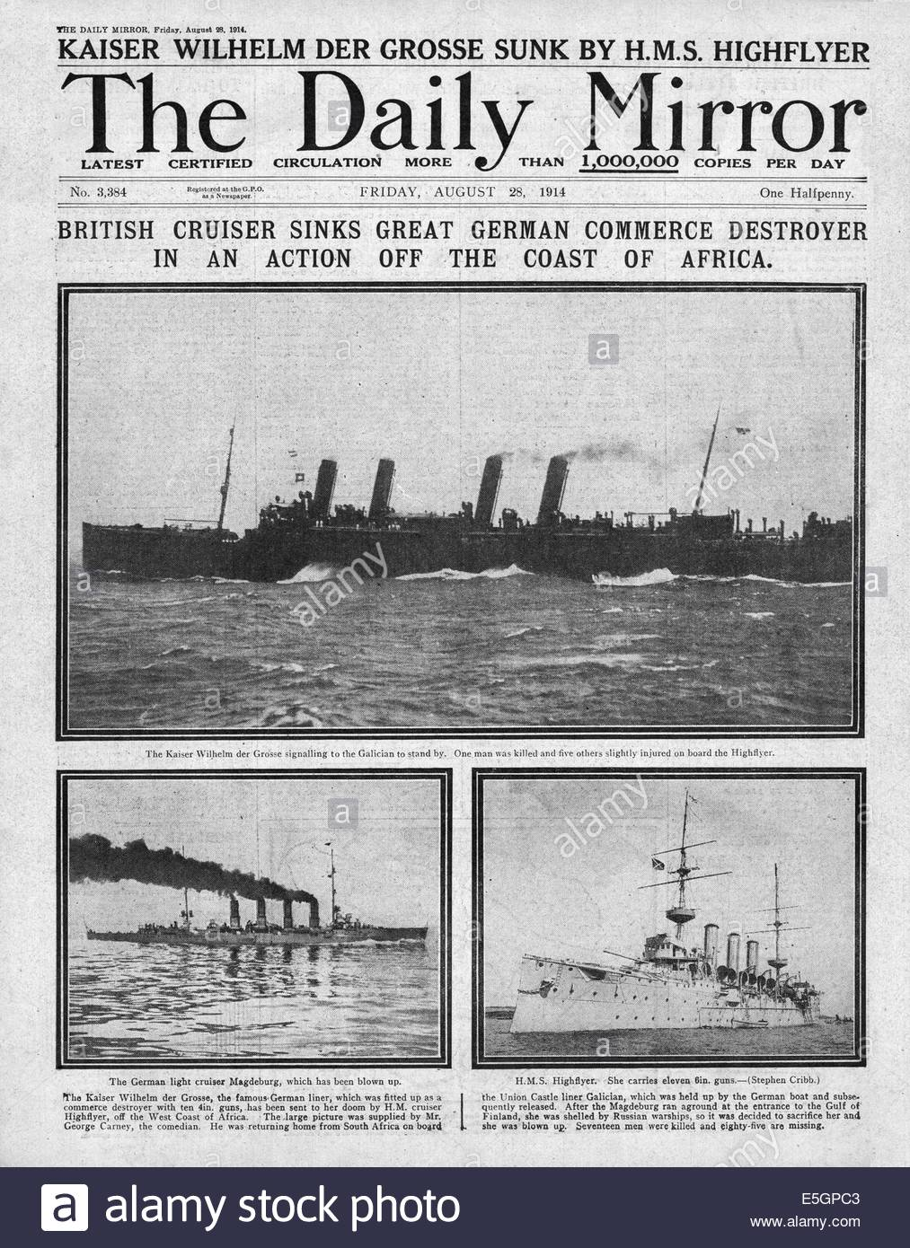 1914 Daily Mirror front page reporting the sinking of German warship Kaiser Wilhelm der Grosse by HMS  Highflyer - Stock Image