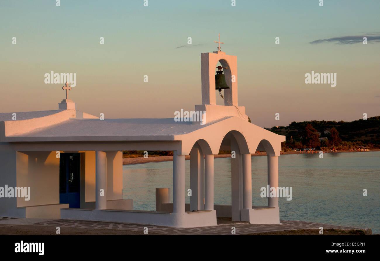 Greek Church by coast at Porto Heli, Argolida, Peloponnese,Greece - Stock Image