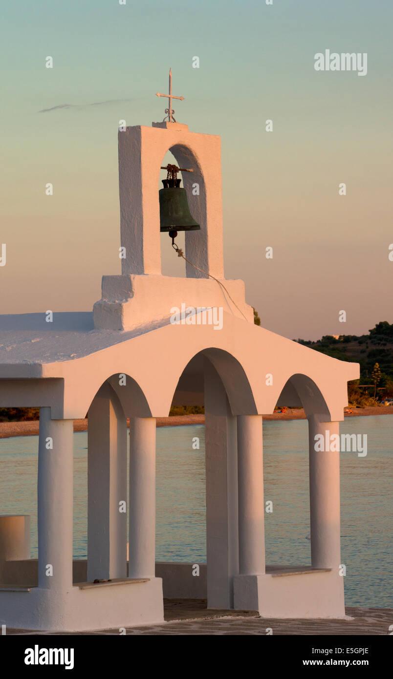 Greek Church by coast at Porto Heli, Argolida, Peloponnese, Greece - Stock Image