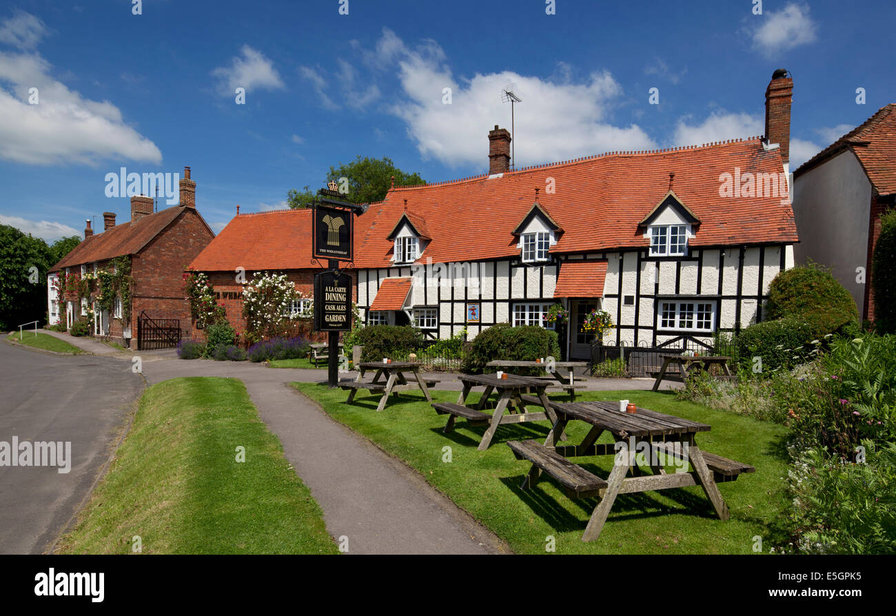 Village scene and pub at East Hendred, Oxfordshire,England - Stock Image