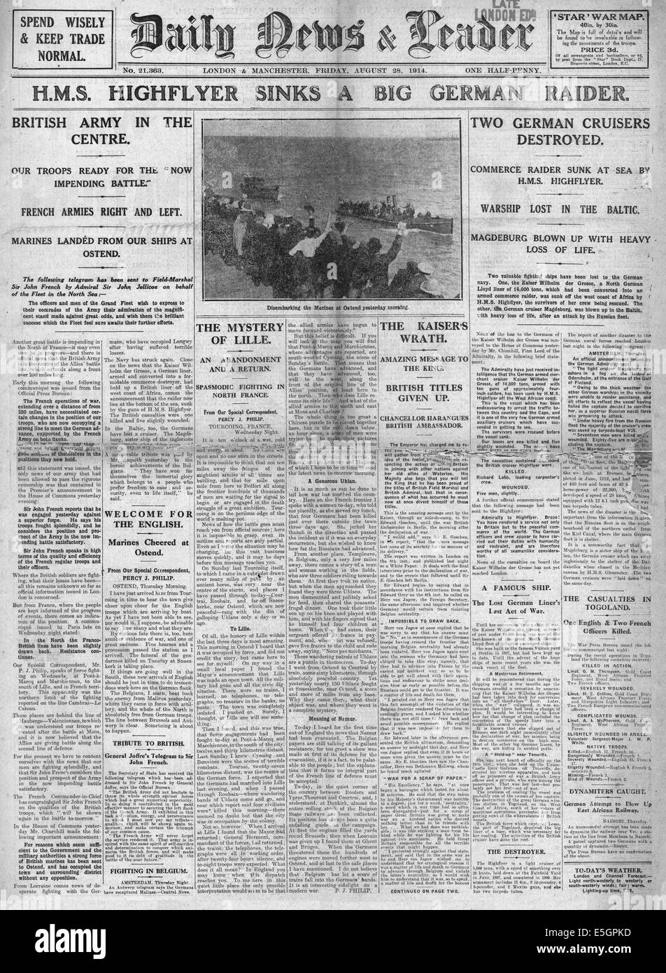 1914 Daily News & Leader front page reporting the sinking of German warship Kaiser Wilhelm der Grosse by HMS - Stock Image