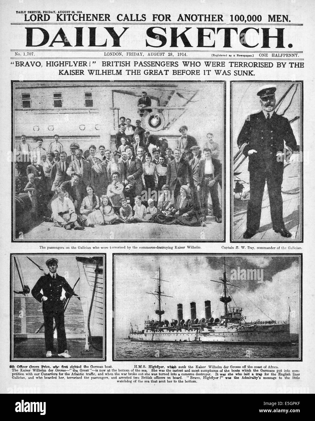 1914 Daily Sketch front page reporting the sinking of German warship Kaiser Wilhelm der Grosse by HMS  Highflyer - Stock Image