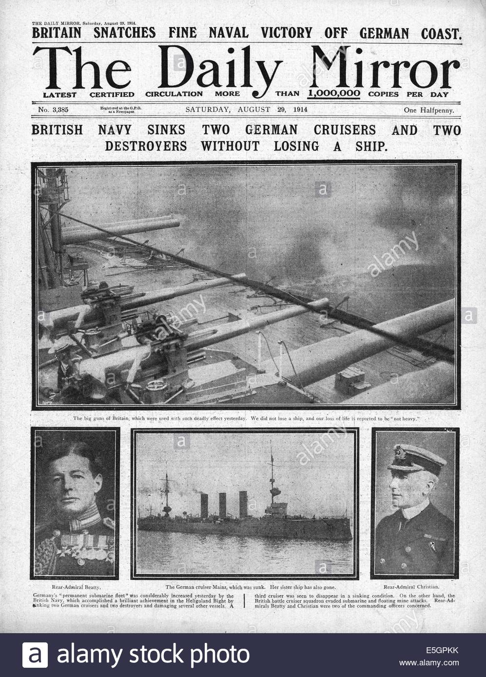 1914 Daily Mirror front page reporting the sinking of German warships SMS Mainz, SMS Cöln and SMS Ariadne, destroyer Stock Photo