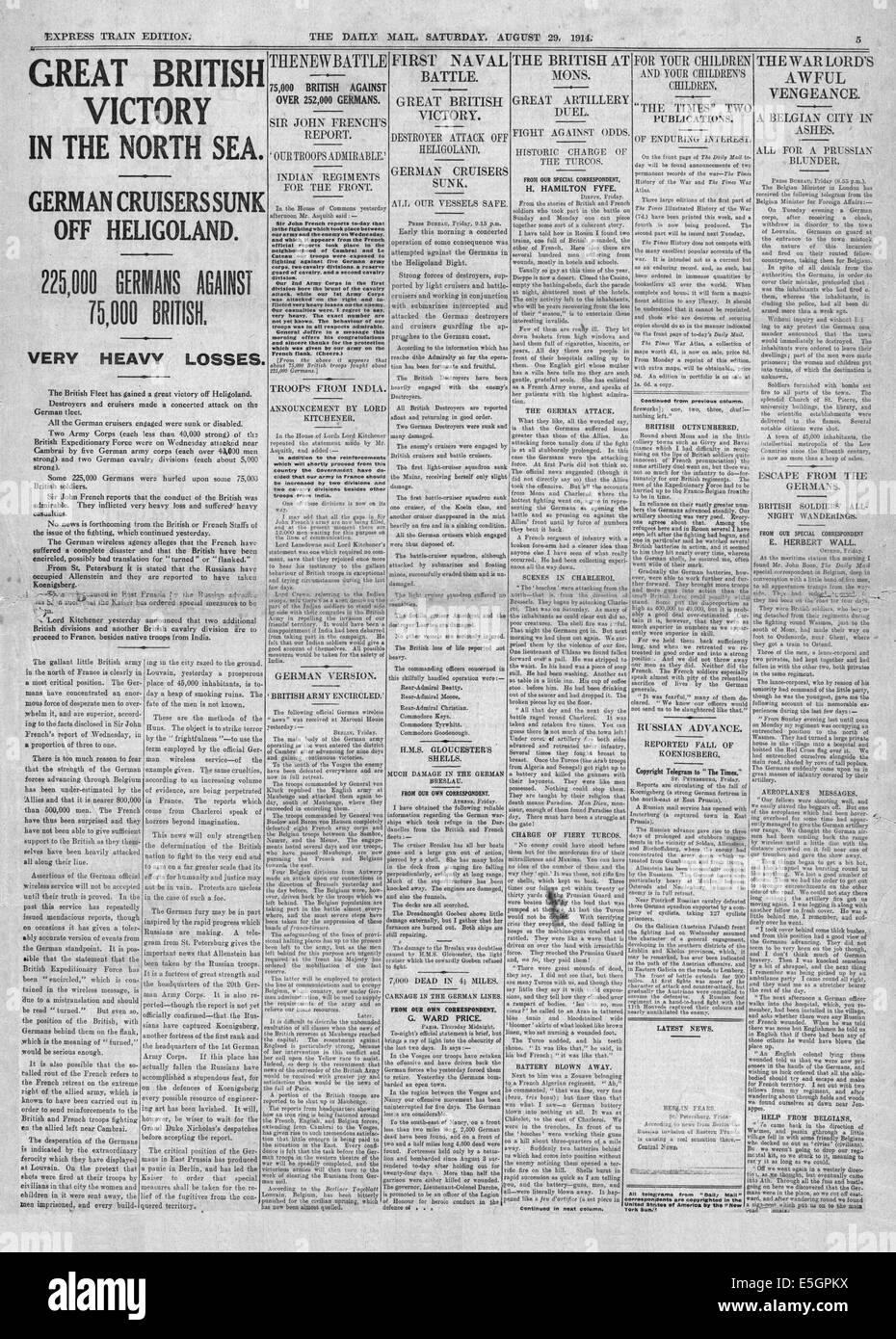 1914 Daily Mail page 5 reporting the sinking of German warships SMS Mainz, SMS Cöln and SMS Ariadne, destroyer V Stock Photo
