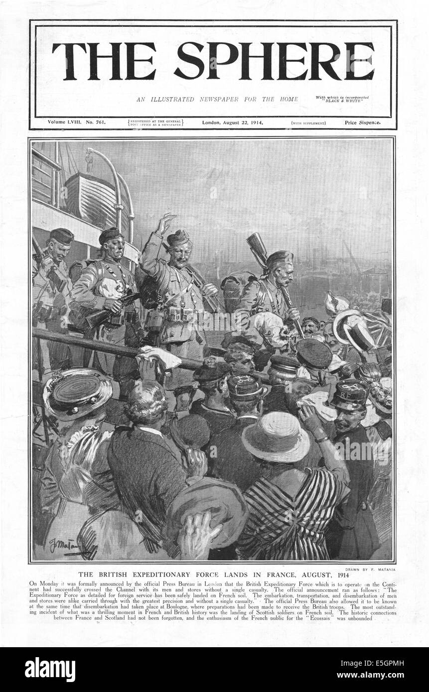1914 The Sphere showing British Expiditionary Force landing in France - Stock Image