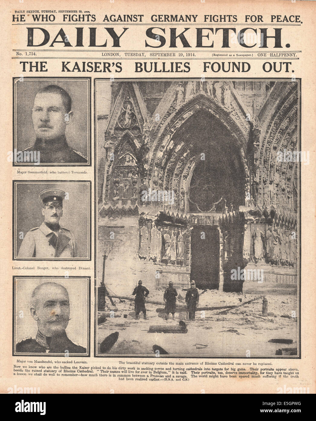 1914 Daily Sketch front page with headline criticising German Army and bomb damage to Rheims cathedral - Stock Image