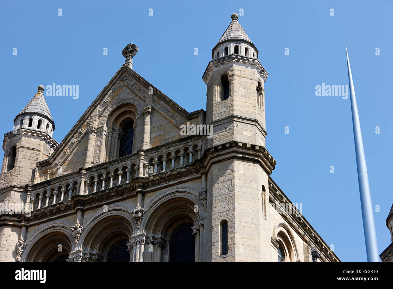 st annes belfast cathedral and spire Belfast city centre - Stock Image