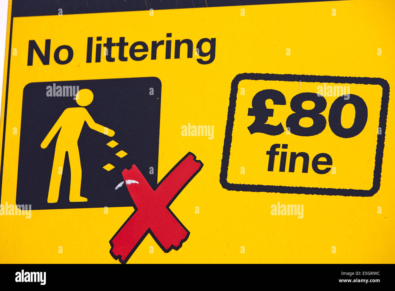 no littering warning sign with local council 80 pounds fine in the uk - Stock Image