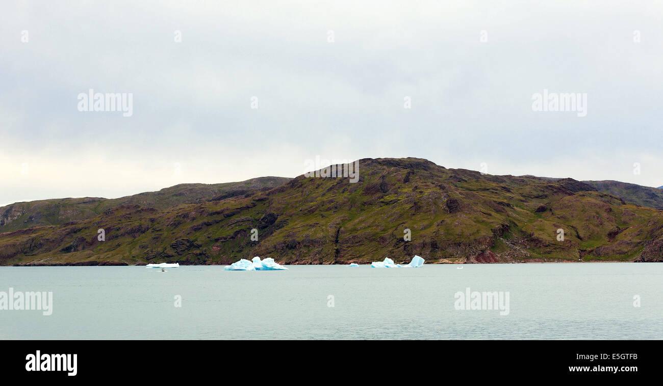 Narsarsuaq, Greenland. 30th July, 2014. The Tunulliarfik fjord in Narsarsuaq, Greenland, 30 July 2014. The Crown - Stock Image