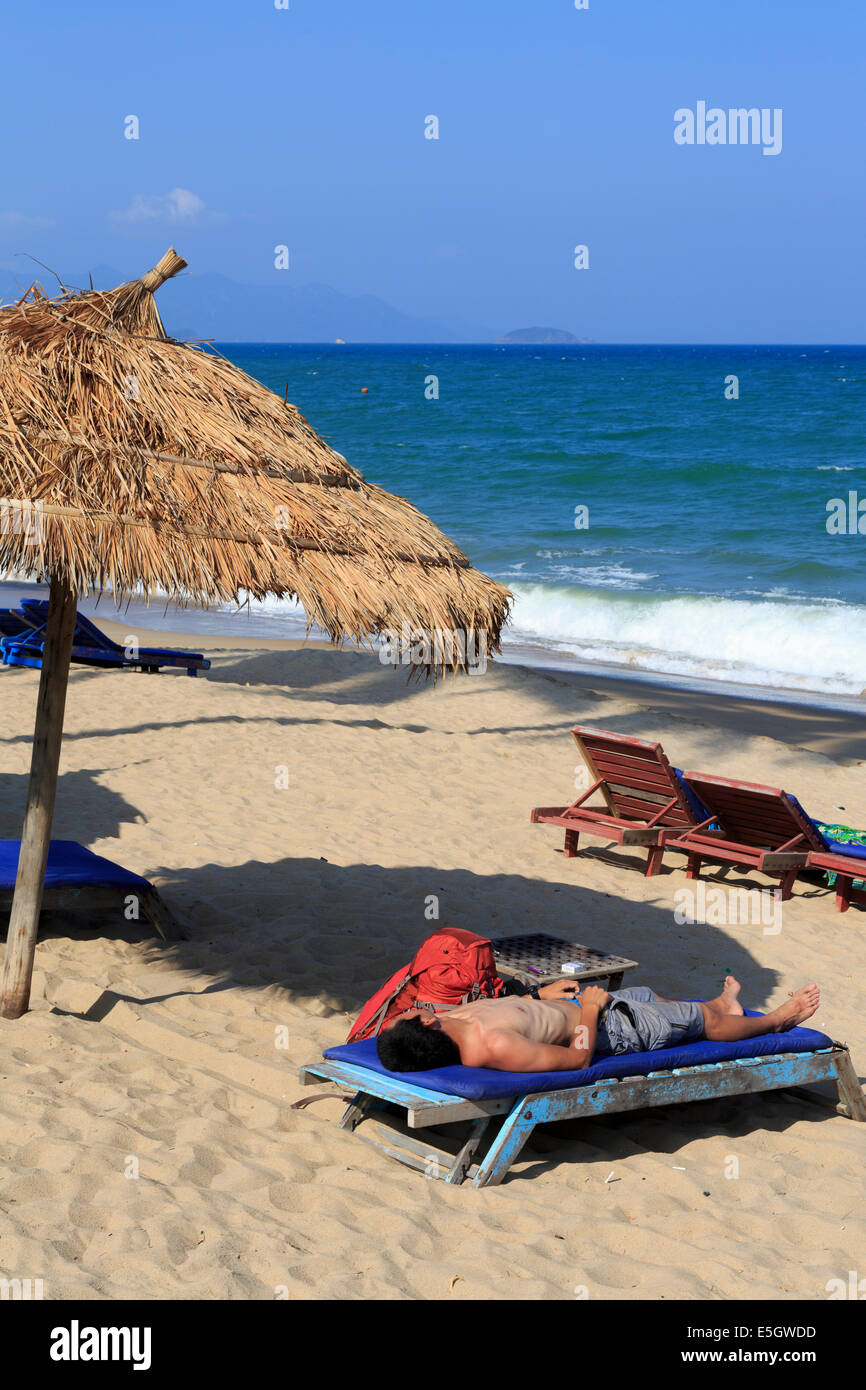 Beach, Nha Trang City, Vietnam, Asia - Stock Image
