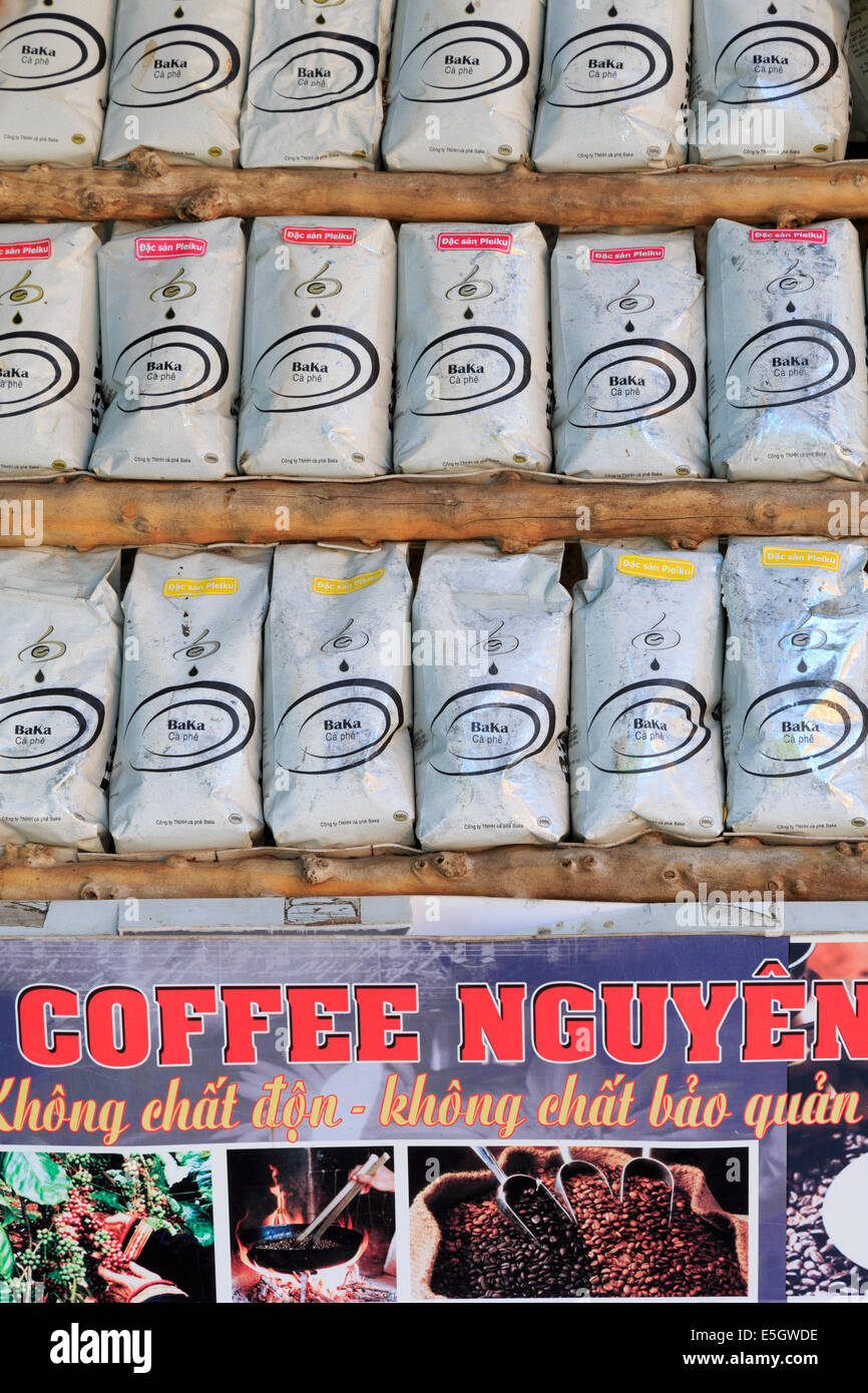 Bags of Coffee in store, Nha Trang City, Vietnam, Asia Stock Photo
