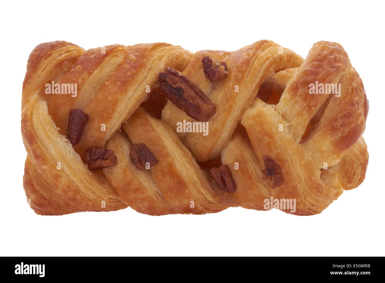 Maple and pecan plait pastry on white background - Stock Image