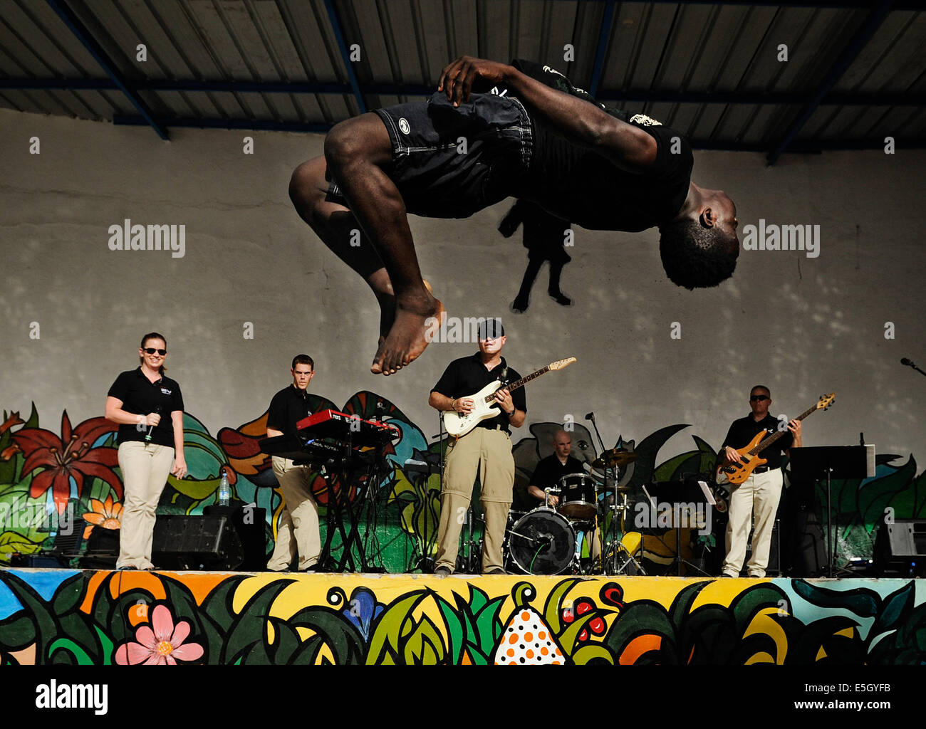 U.S. Airmen with the U.S. Air Forces in Europe and Air Forces Africa rock band 'Afterburner' perform for - Stock Image