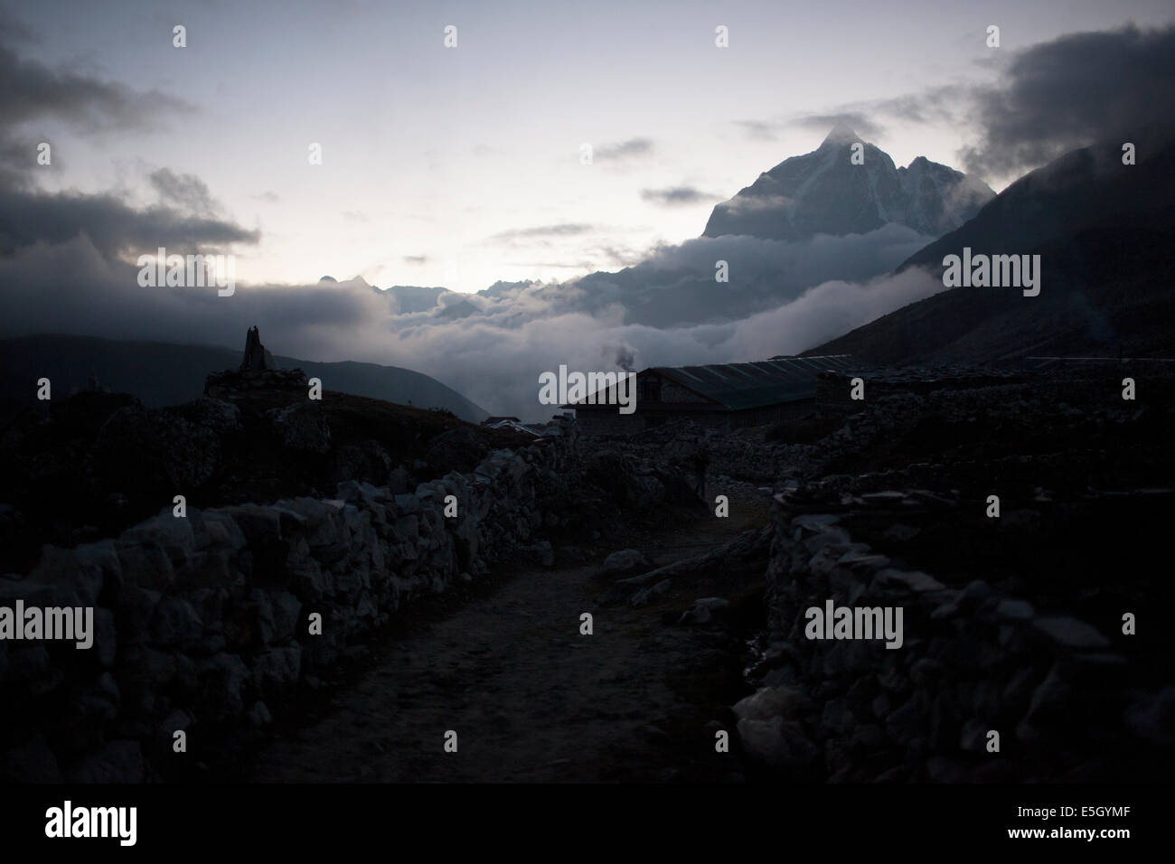 Village called Chukhung in the Everest region in Nepal - Stock Image