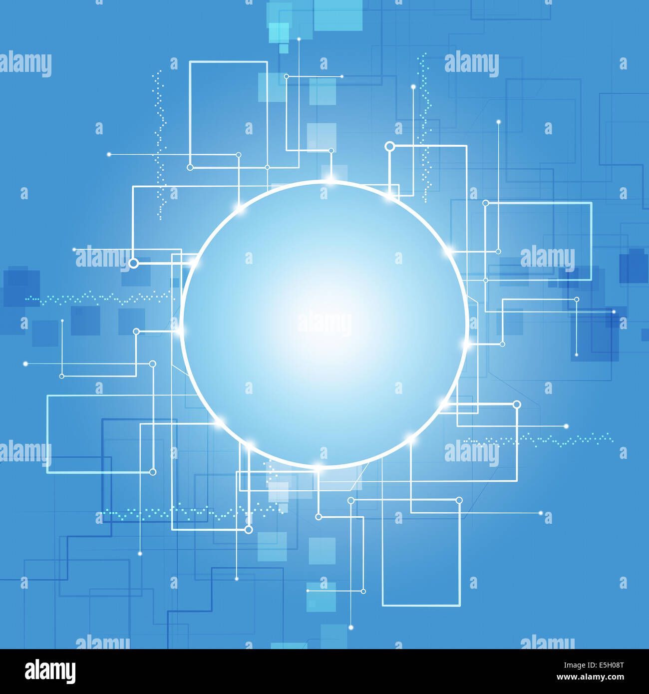 abstract communication technology lines blue business background - Stock Image
