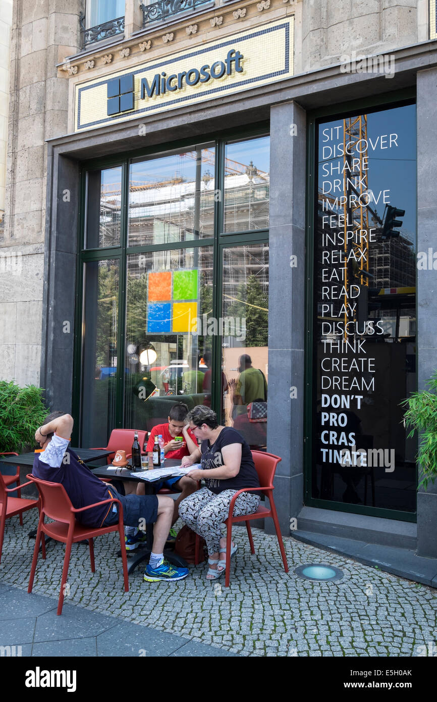 Exterior of new Microsoft Digital Eatery cafe on Unter den Linden in Berlin Germany - Stock Image