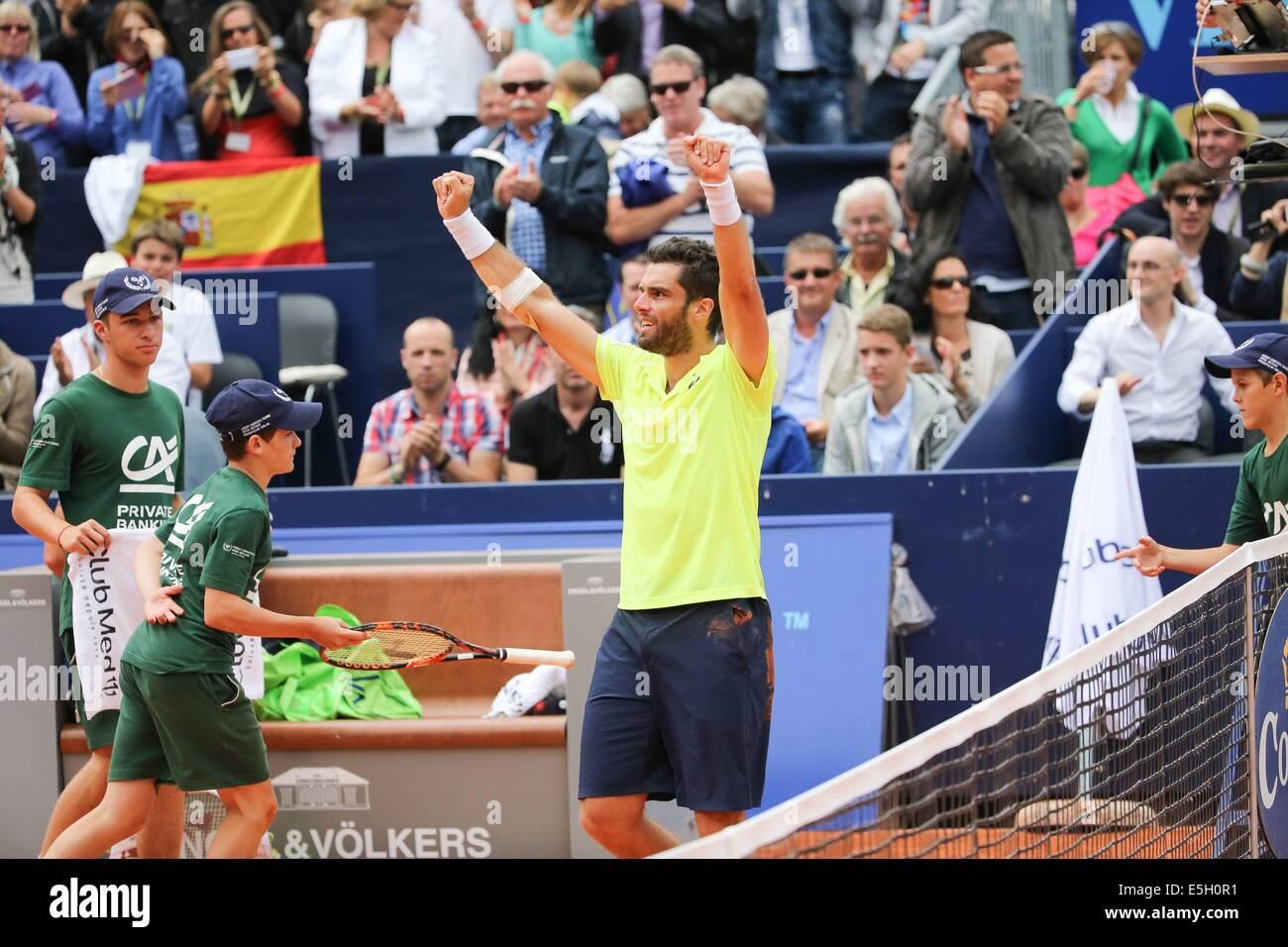 Gstadd, Switzerland. 27th July, 2014. ATP Swiss Open Mens Tennis championships. Pablo Andujar (ESP) celebrates winning - Stock Image