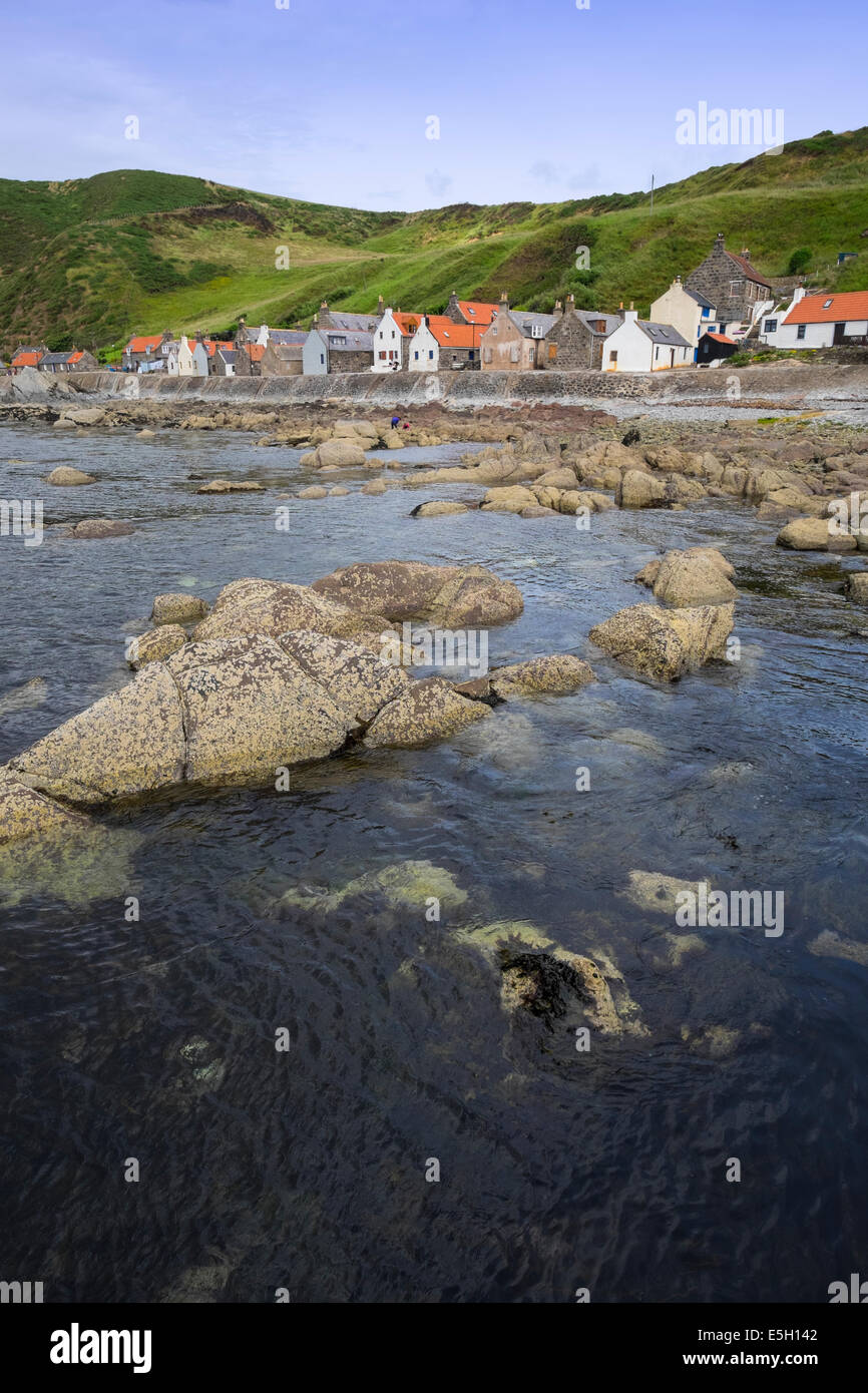 View of small village of Crovie on coast of Aberdeenshire in Scotland Stock Photo