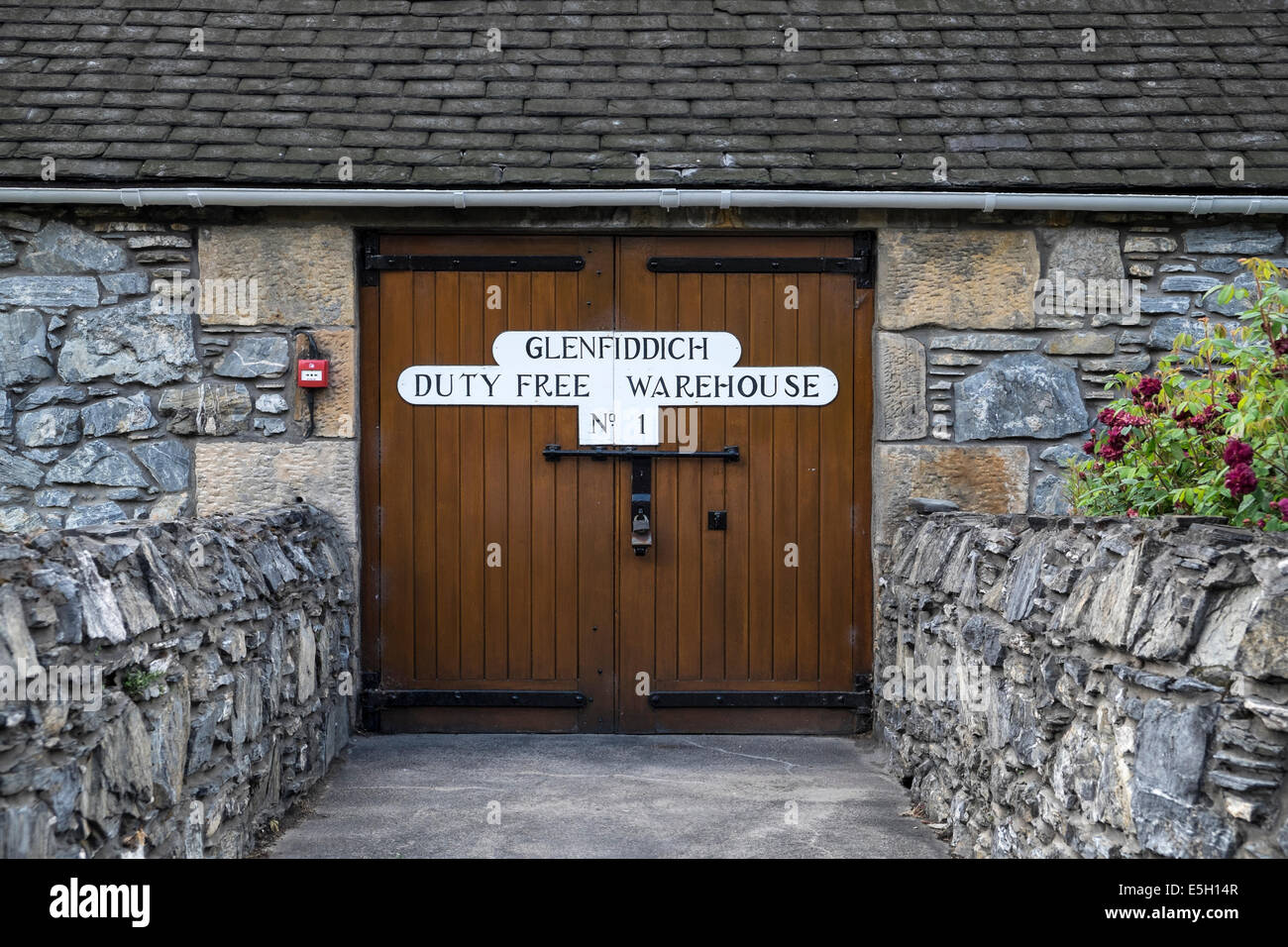Duty free bonded warehouse doors at Glenfiddich whisky distillery inScotland - Stock Image