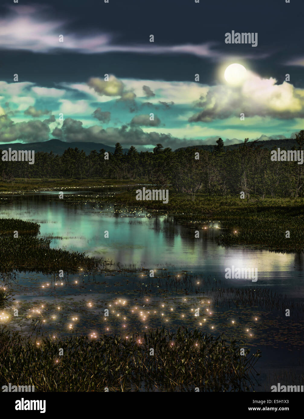 depiction of a forest stream with lightning bugs at twilight - Stock Image