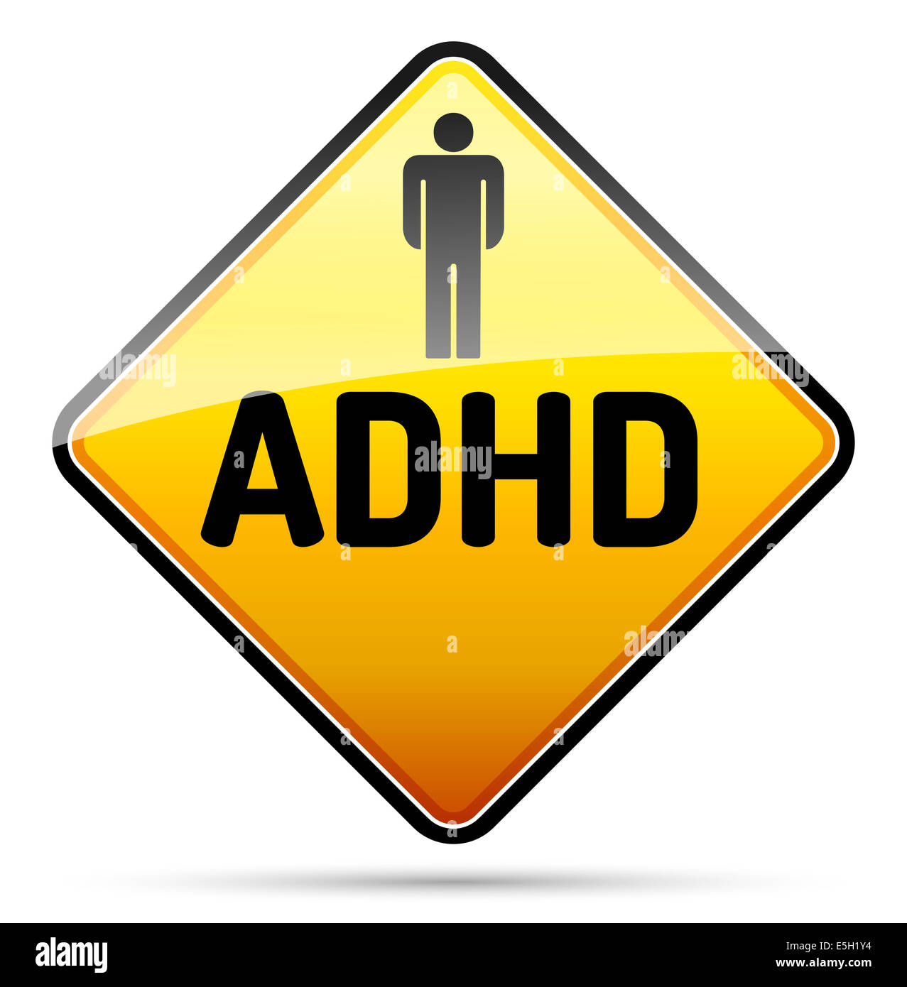 ADHD - Attention deficit hyperactivity disorder - isolated sign with reflection and shadow on white background - Stock Image