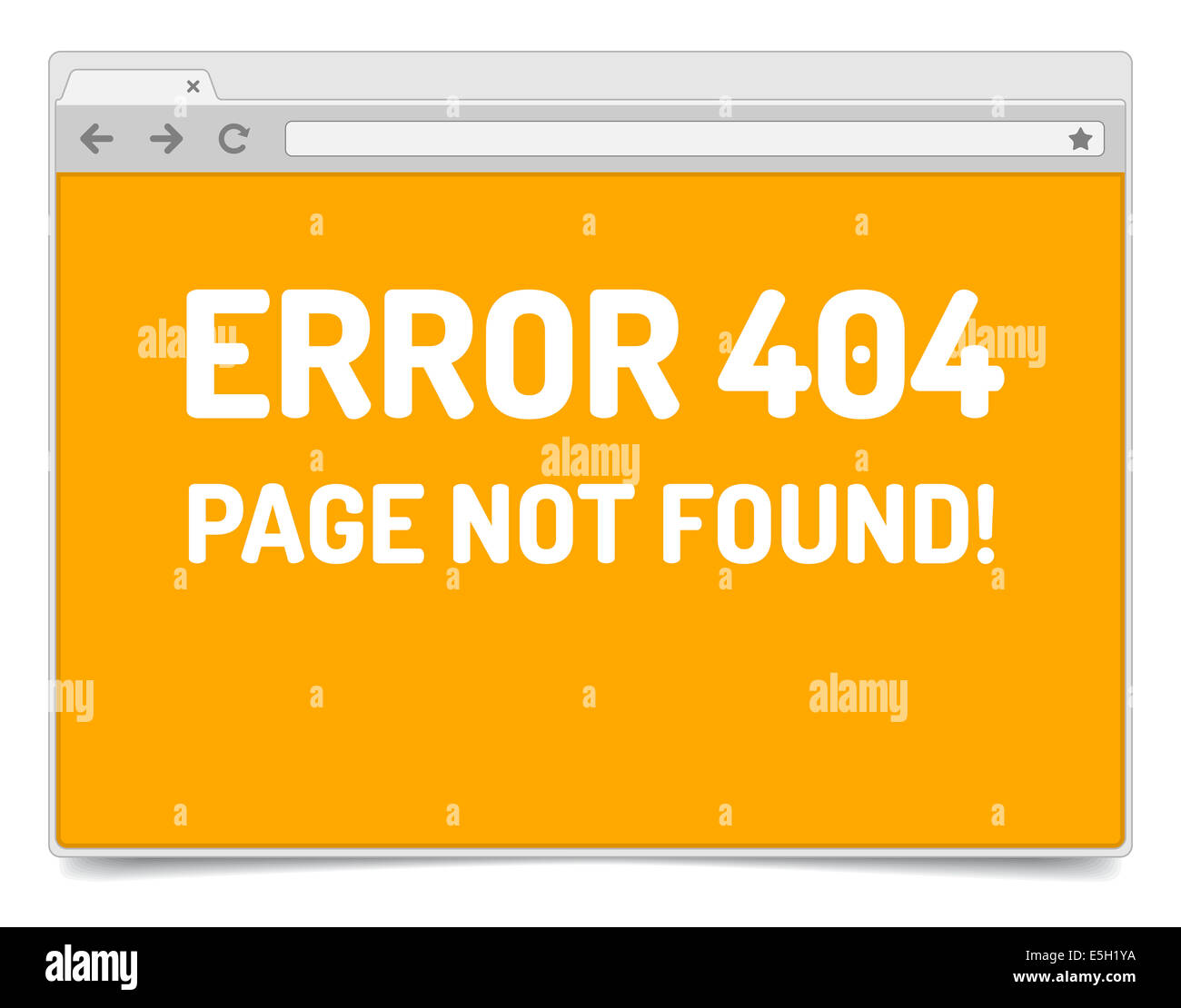 page 404 error on opened internet browser window with shadow stock