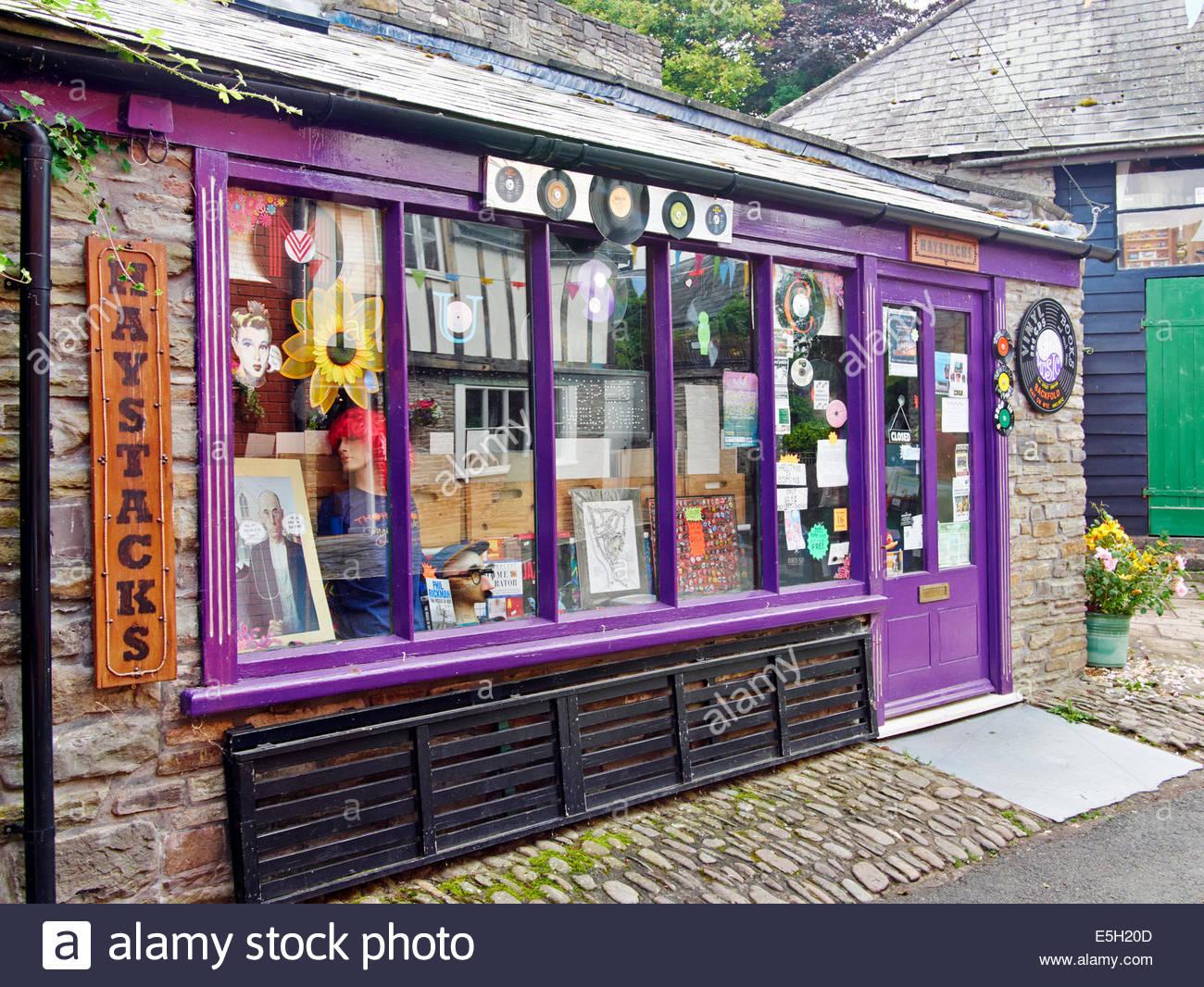 backfold haystacks record shop in hay on wye - Stock Image