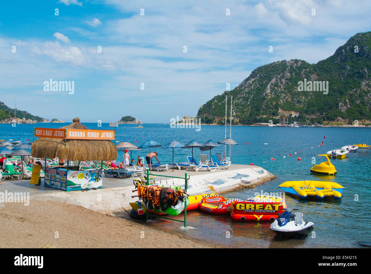 Watersports,jetskis and other equipment rental, beach, Icmeler resort, near Marmaris, Mugla province, Turkey, Asia - Stock Image