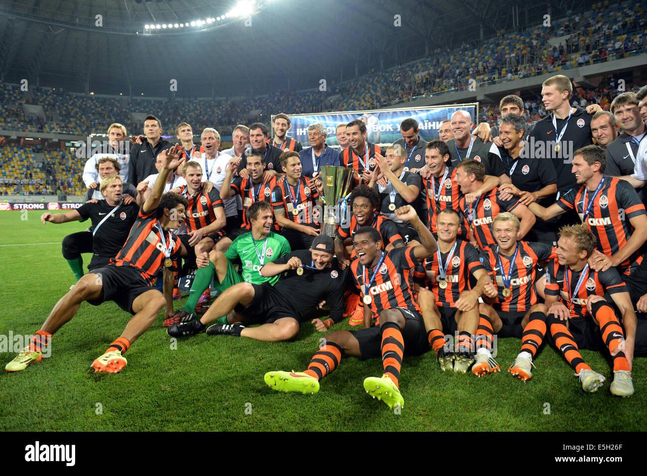 Shakhtar football team during the match Inter between 'Shakhtar' (Donetsk City) and Dynamo (Kyiv) at Stadium - Stock Image