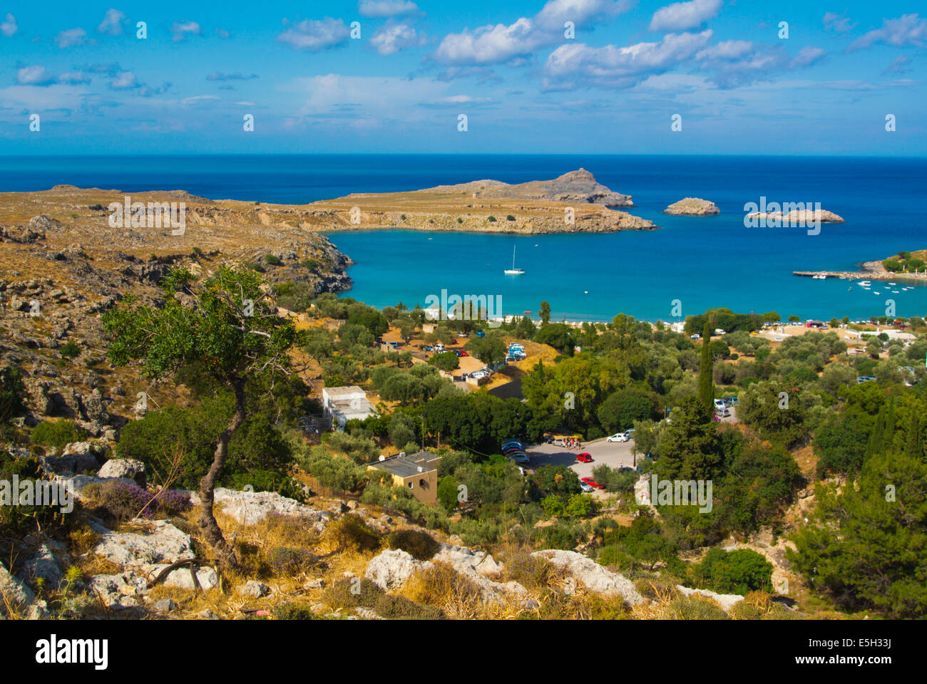 The bay around Lindos town, Rhodes island, Dodecanese islands, Greece, Europe - Stock Image