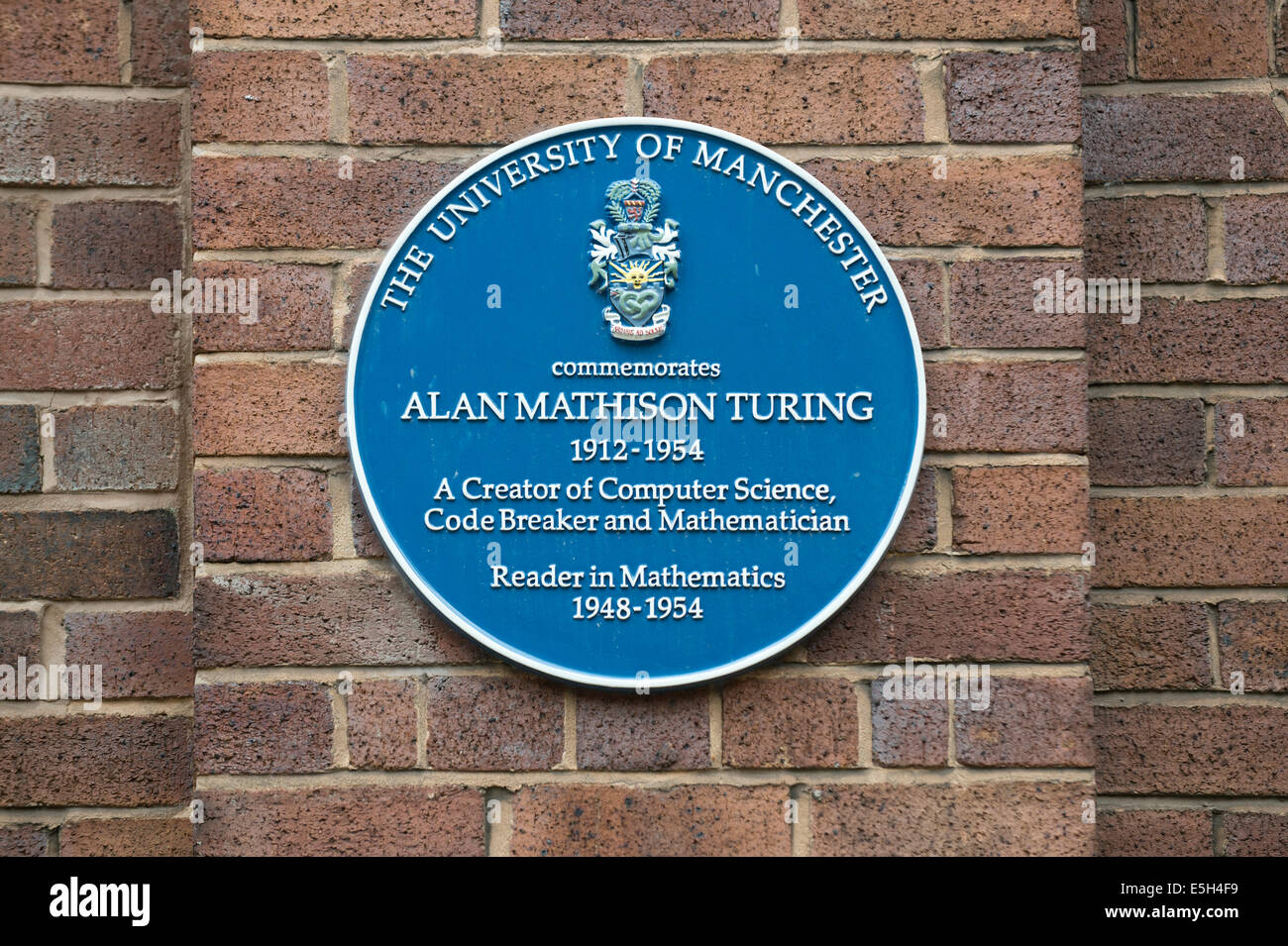 A plaque to commemorate Mathematician Alan Mathison Turing, at the University campus area (off Oxford Road) in Manchester. - Stock Image