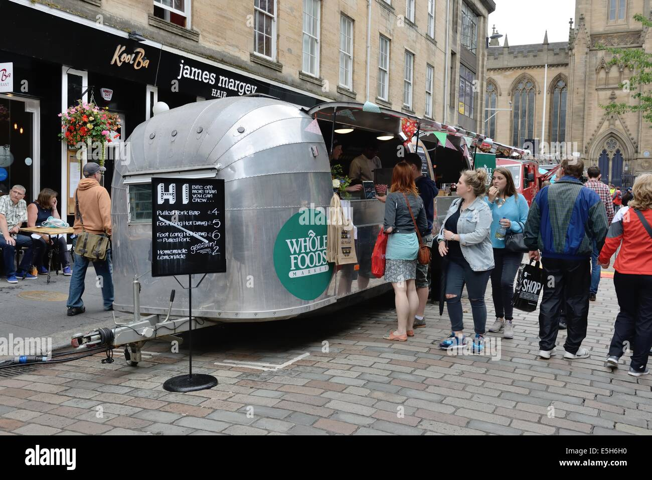 The mobile Whole Foods trailer at the Merchant city festival in Glasgow city centre, Scotland - Stock Image