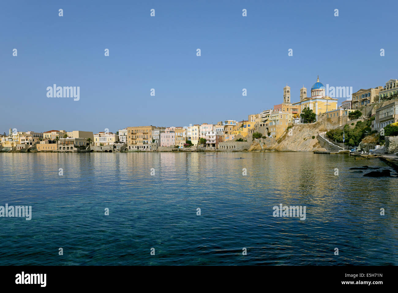 The aristocrat neighbourhood of 'Vaporia' located in Ermoupopoli town, capital of Syros island and of Cyclades, - Stock Image