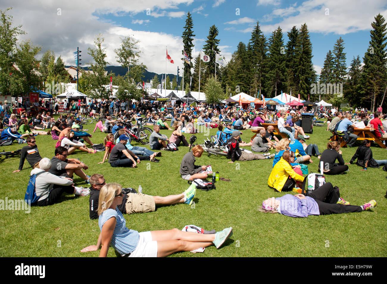 2014 Canadian Ironman race finish area. - Stock Image