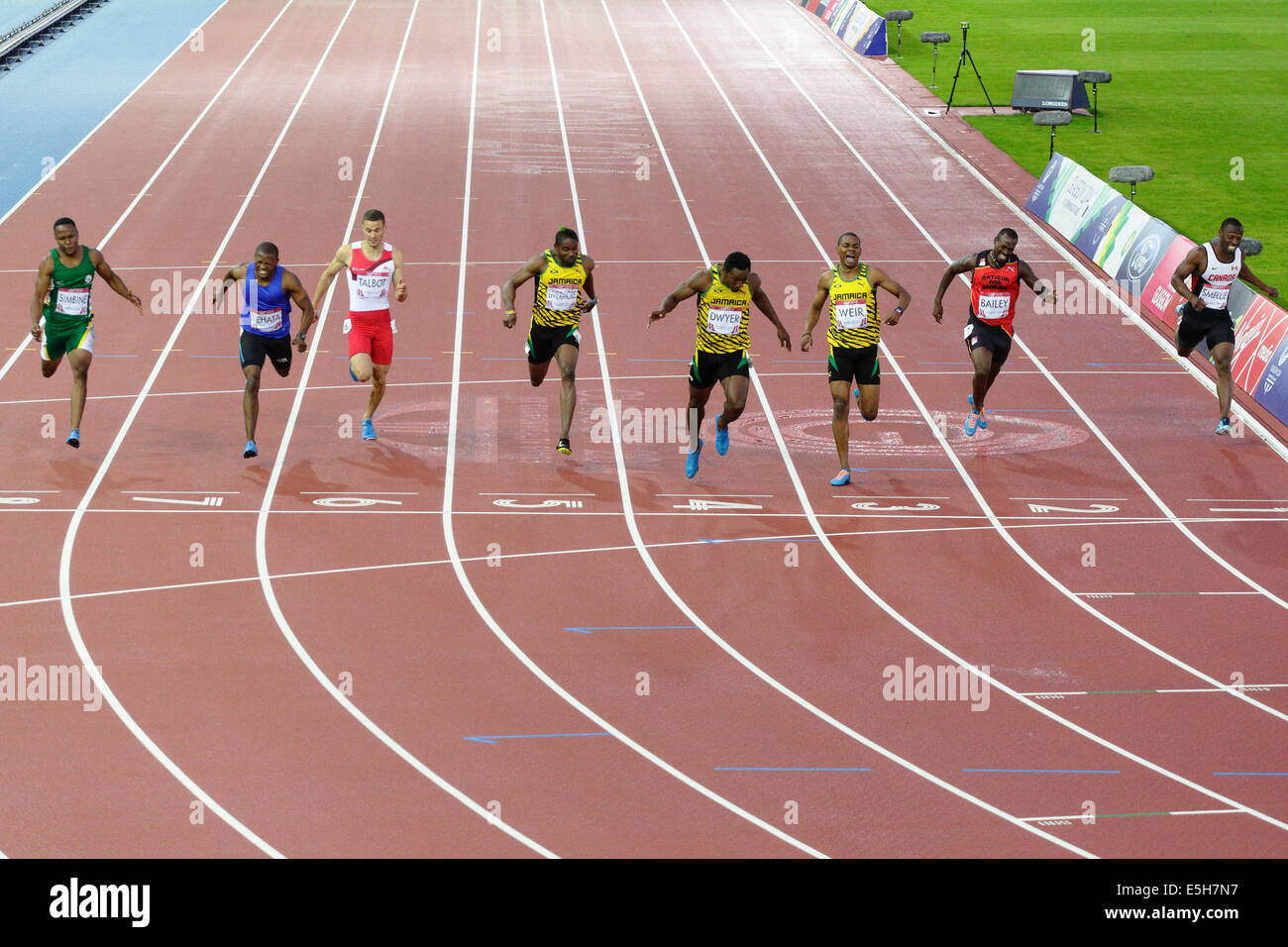 Rasheed Dwyer, Warren Weir and Jason Livermore take Gold, Silver and Bronze respectively for Jamaica in the Men's - Stock Image