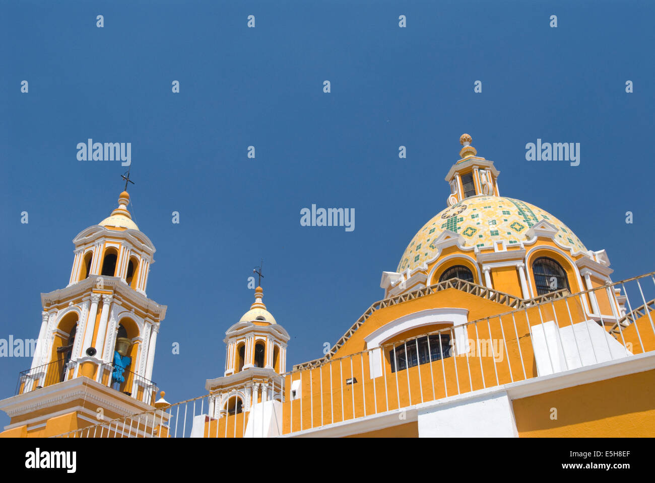 Exterior of the Church of Neustra Senor de los Remedios or Our Lady of Remedios in Cholula, Mexico - Stock Image