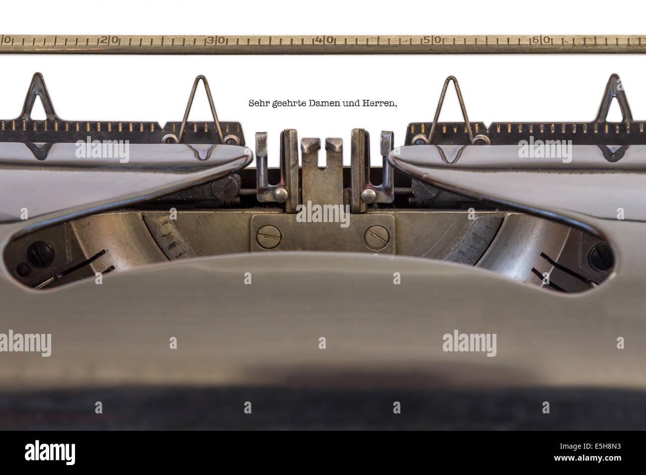 The Words 'Sehr geehrte Damen und Herren' (German Dear Sir or Madam) written on a typewriter - Stock Image