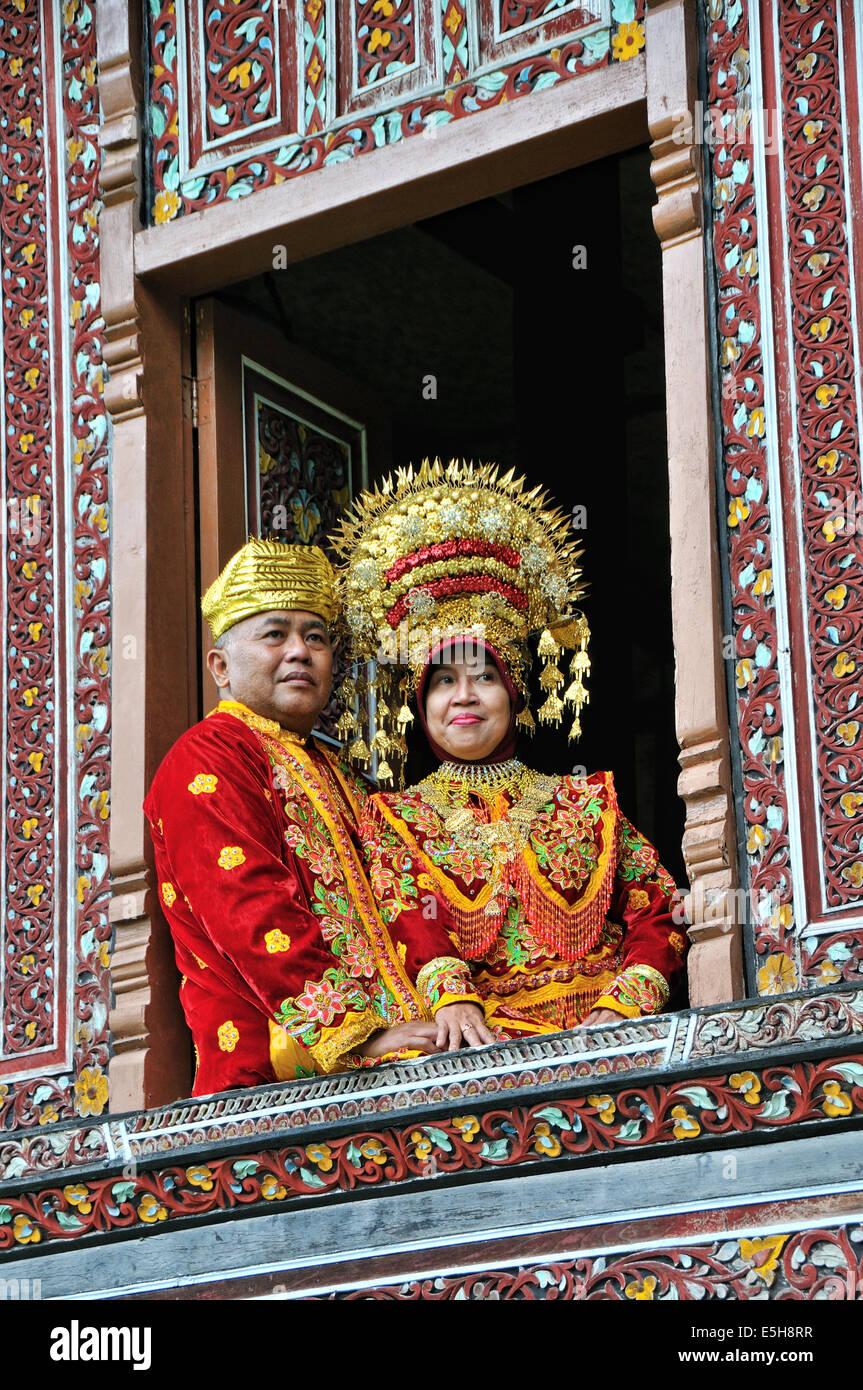 Minangkabau bride, South Sumatera, Palembang, Indonesia. - Stock Image