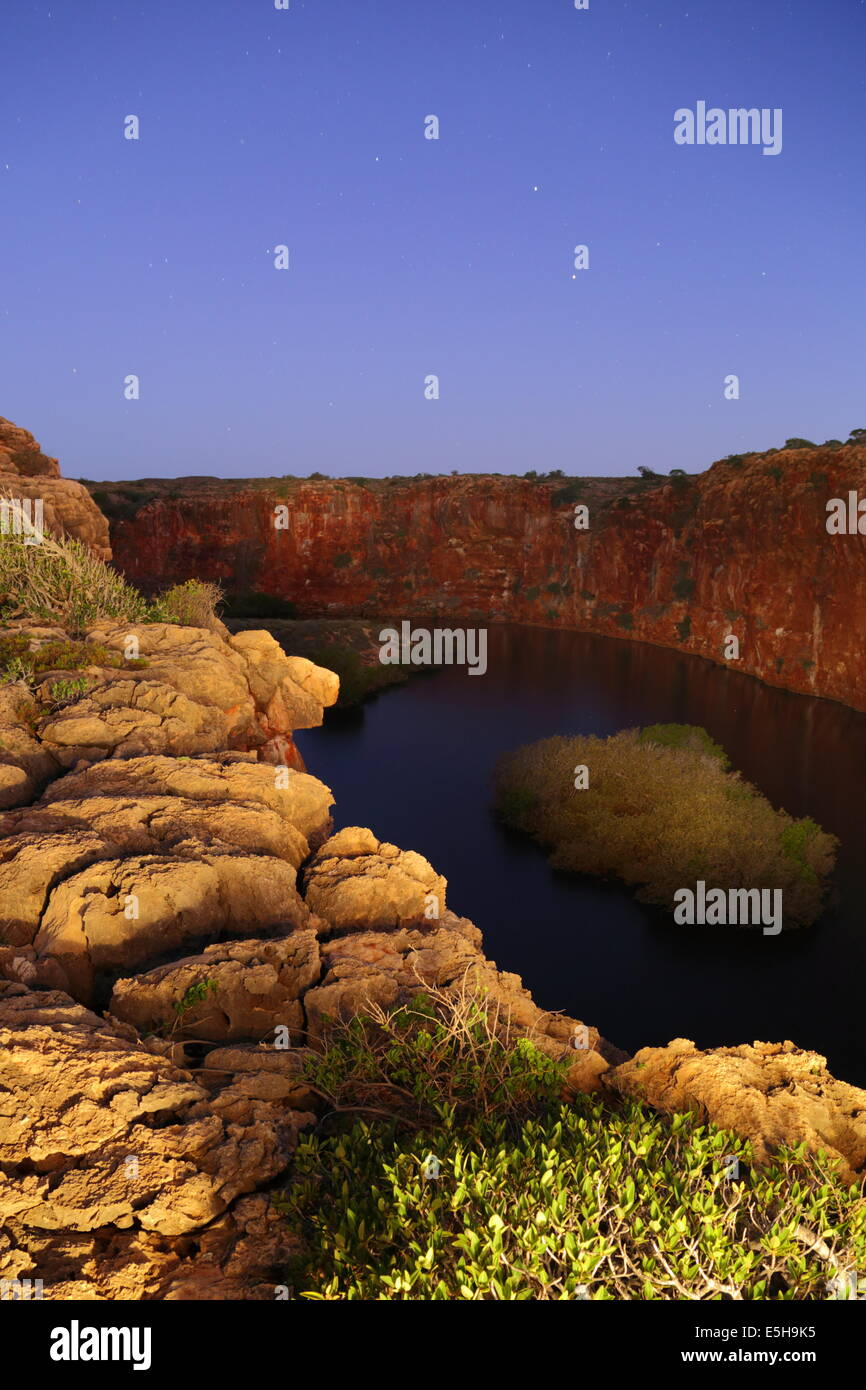 A light painting of Yardie Creek in Cape Range National Park near Exmouth, Western Australia. - Stock Image