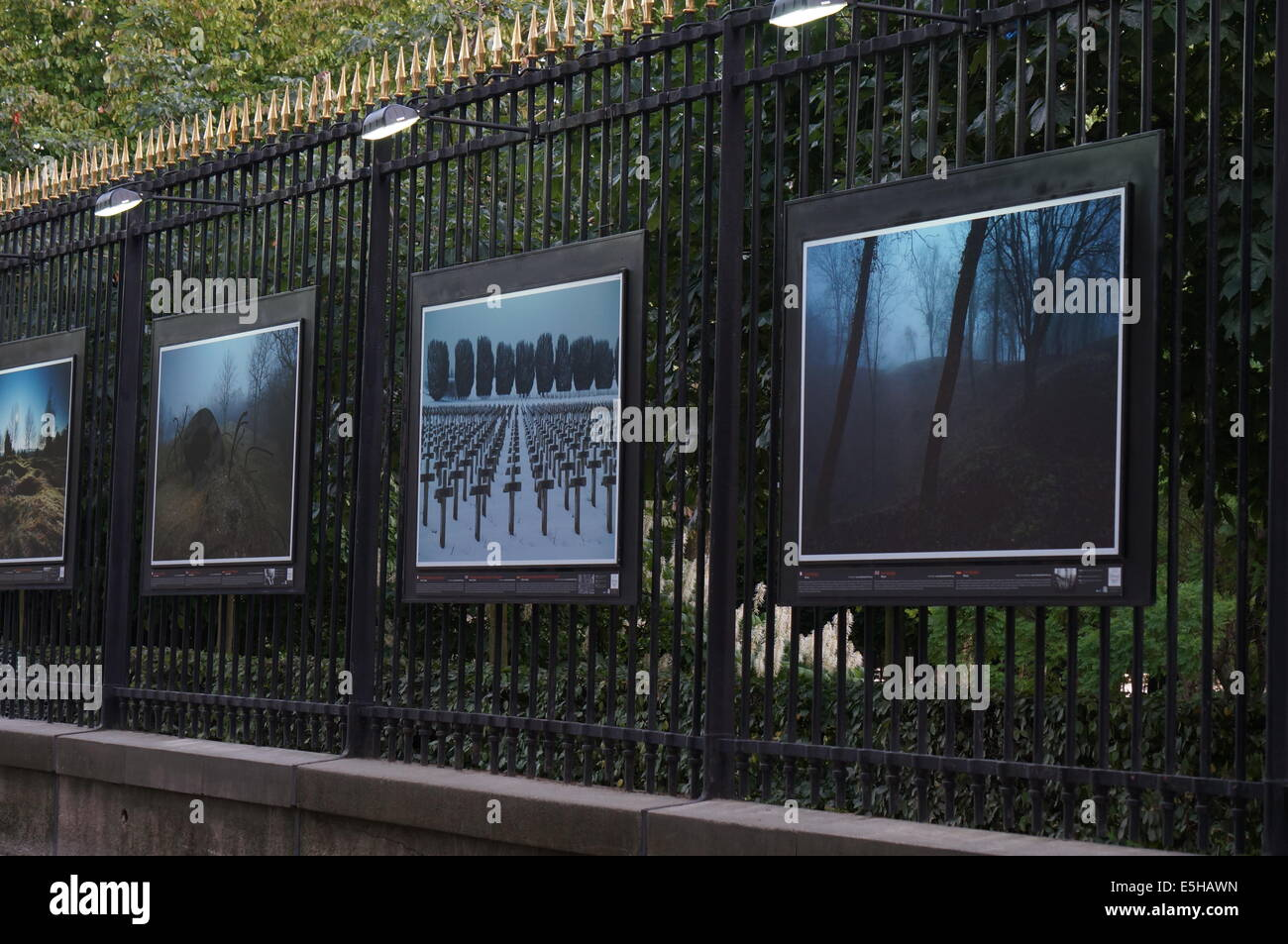 Painting Exhibition On The Railing Outside Jardin Du Luxembourg