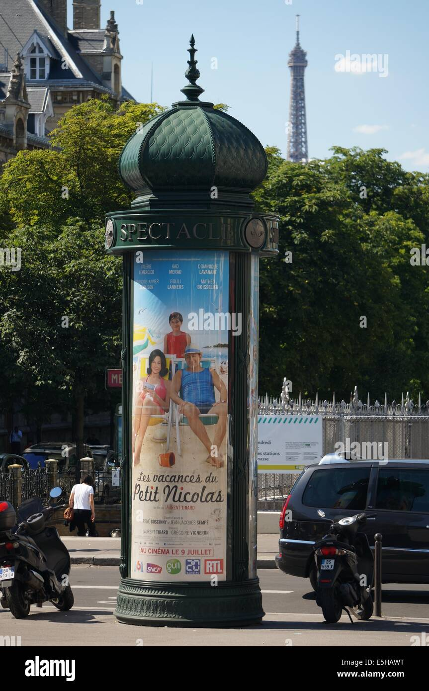 Display stand in Paris advertising a film with a poster ...