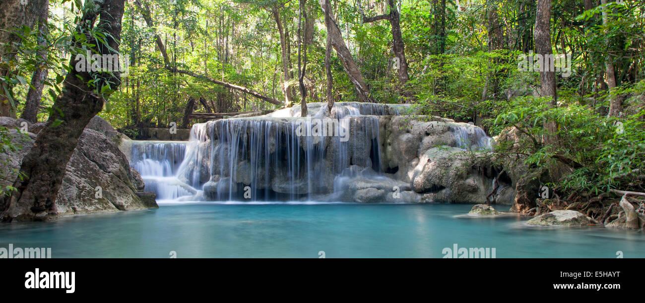 Erawan Falls at Erawan National Park, Thailand - Stock Image