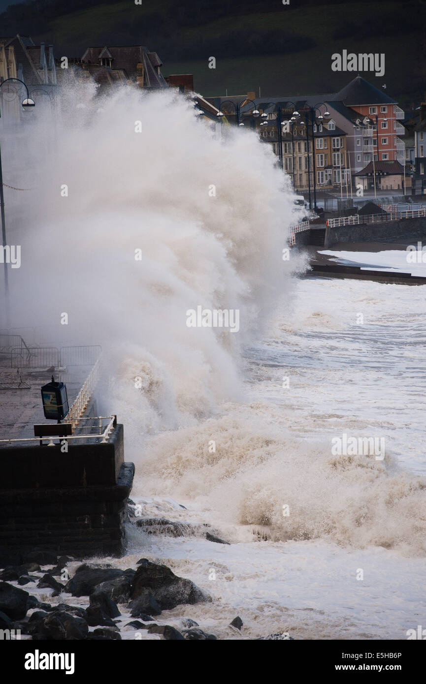 Aberystwyth, Wales, UK. 15th Feb, 2014.  12-BEFORE: PROMENADE DURING THE STORMS. Winds gusting up to 60-70mph drive - Stock Image