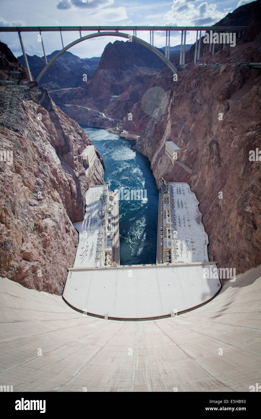 The Hoover Dam, built during the Great Depression, on the border between Arizona and Nevada, in March 2012. Stock Photo