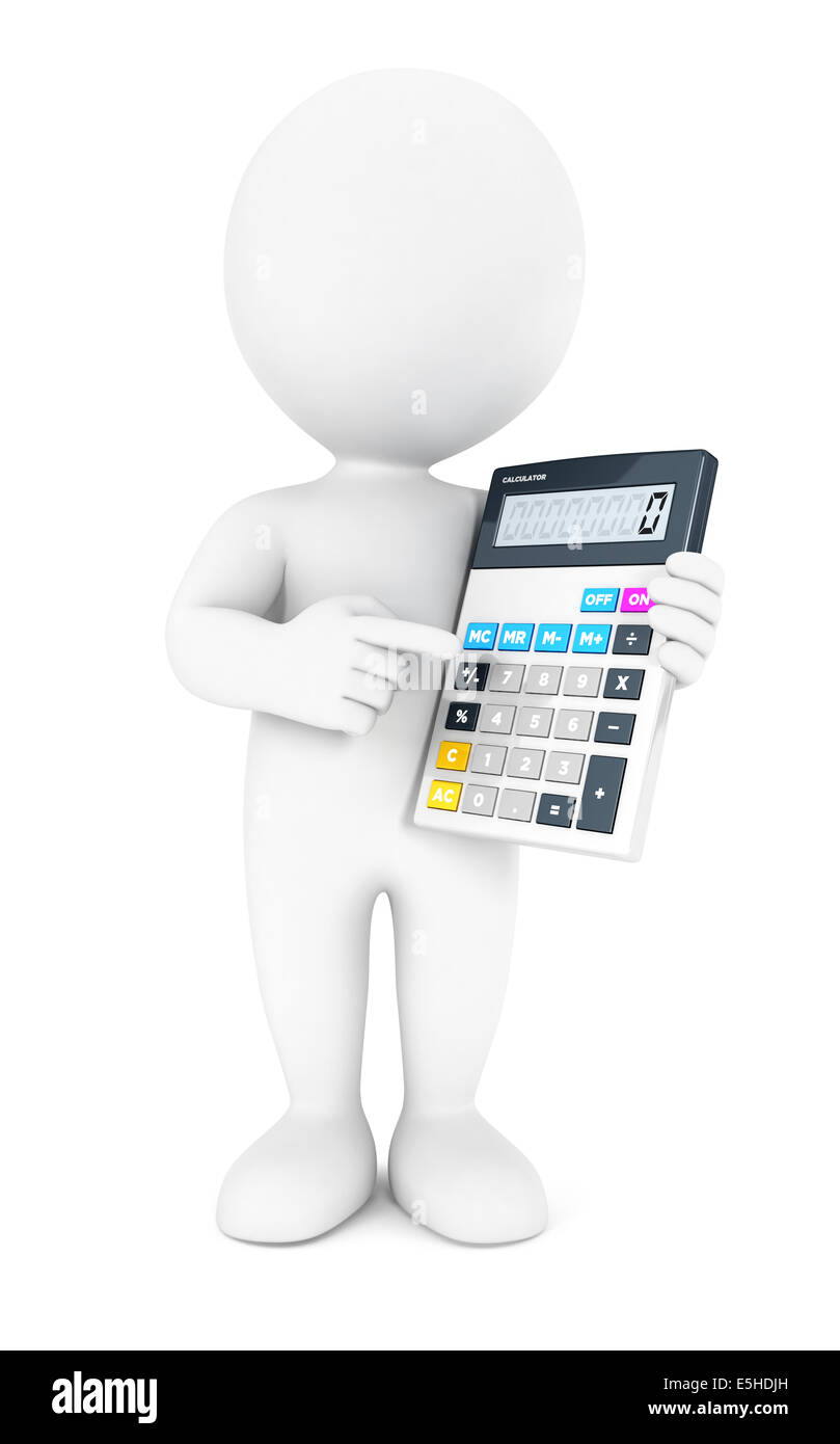 3d white people accountant, isolated white background, 3d image Stock Photo
