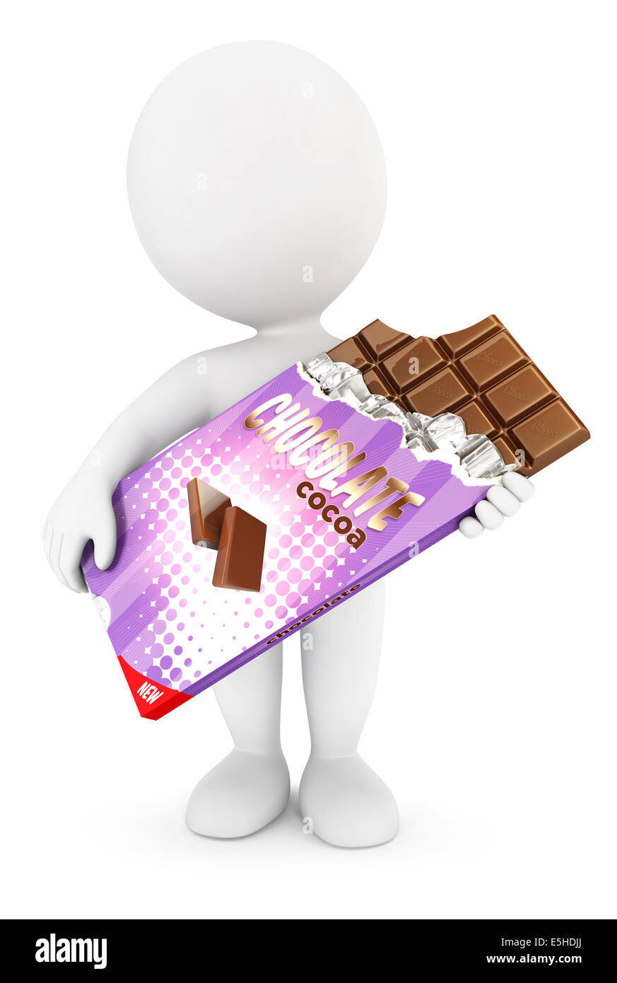 3d white people bar of chocolate, isolated white background, 3d image Stock Photo